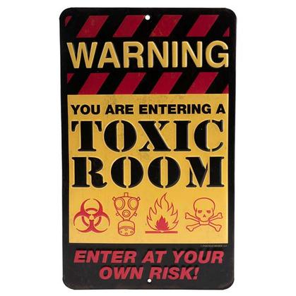 WARNING TOXIC ROOM EMBOSSED TIN SIGN 6