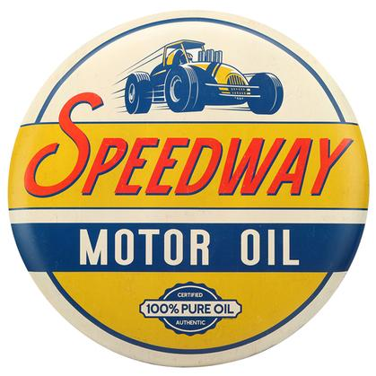 SPEEDWAY MOTOR OIL TIN BUTTON SIGN 24