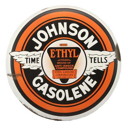 JOHNSON GASOLENE RUSTIC TIN BUTTON SIGN 24