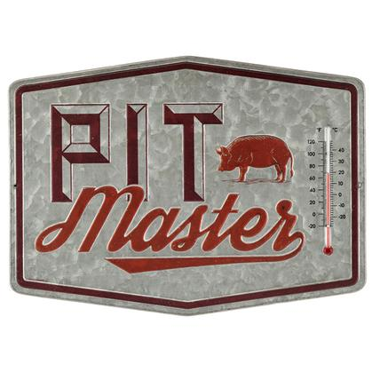 PIT MASTER EMBOSSED METAL THERMOMETER 14