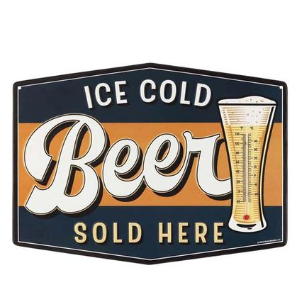 ICE COLD BEER EMBOSSED TIN THERMOMETER