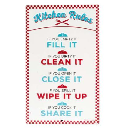 KITCHEN RULES EMBOSSED TIN SIGN 6