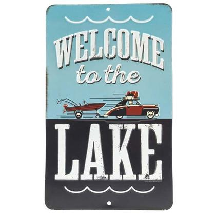 WELCOME TO THE LAKE EMBOSSED TIN SIGN 6