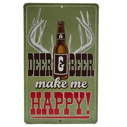 DEER & BEER EMBOSSED TIN SIGN 6