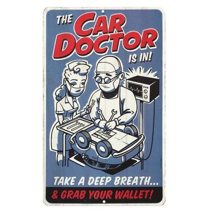 THE CAR DOCTOR IS IN RETRO TIN SIGN 8
