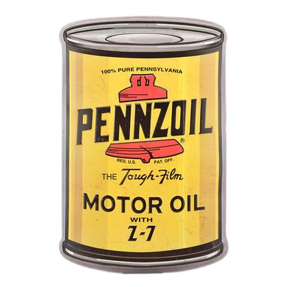 PENNZOIL OIL CAN CURVED TIN SIGN 15.5