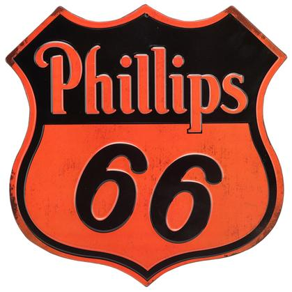 PHILLIPS 66 EMBOSSED TIN SIGN 12