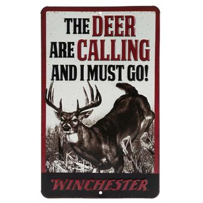 WINCHESTER DEER CALLING EMBOSSED TIN SIGN 6