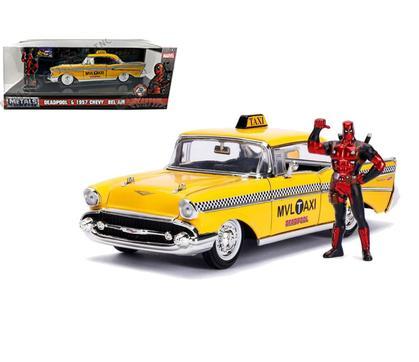 CHEVROLET BEL AIR 1957 TAXI with DEADPOOL Figure DC Comics Bombshells