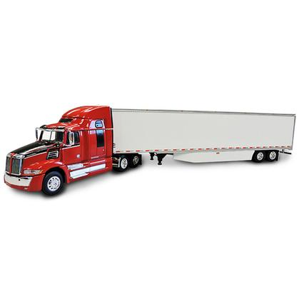 Western Star 5700 XE with High Roof Sleeper in Red with 53' Dry Van Skirted Trailer