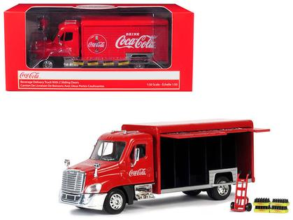 Beverage Delivery Truck Coca-Cola with Handcart and 4 Bottle Cases