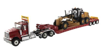 International HX520 Tandem Day Cab Tractor with XL 120 HDG Lowboy Trailer And Cat 12M3 Motor Grader