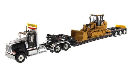 International HX520 Tandem Day Cab Tractor with XL 120 HDG Lowboy Trailer and Cat 963K Track Loader
