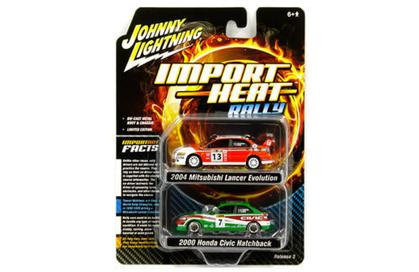 Johnny Lightning 1/64 Import Heat Honda Civic & Mitsubishi Lancer