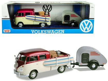 VOLKSWAGEN T1 W/SURFBOARD, ACCESSORIES & TEARDROP TRAILER