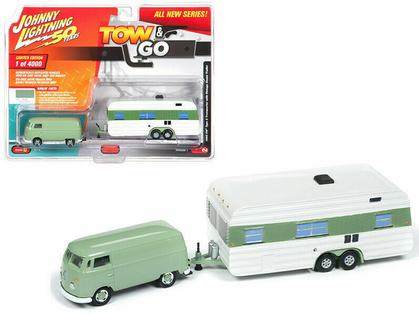 1965 Volkswagen with Vintage Mobile Home Johnny Lightning Tow & Go 2019 1B