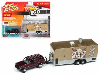 1998 Jeep Cherokee with Food Truck Johnny Lightning Tow & Go 2019 1B