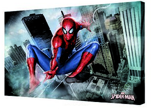 Canvas 24x36 Spiderman Jumping Buldings