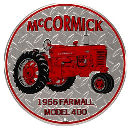MCCORMICK TRACTOR DIAMOND EMBOSSED TIN SIGN 12