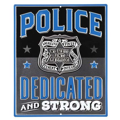 POLICE PROTECT & SERVE EMBOSSED TIN SIGN