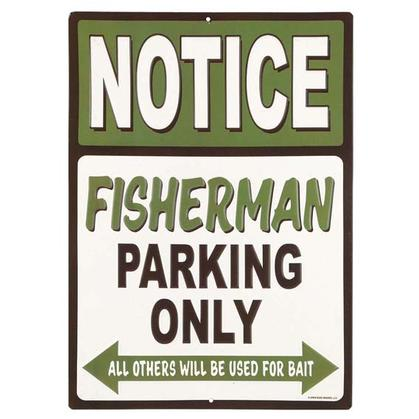 FISHERMAN PARKING EMBOSSED TIN SIGN 10x14