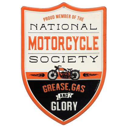 NATIONAL MOTORCYCLE SOCIETY EMBOSSED TIN SIGN