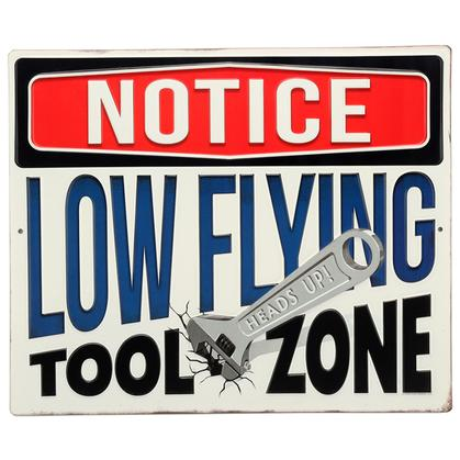 LOW FLYING TOOL ZONE EMBOSSED TIN SIGN 13x11