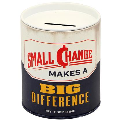 SMALL CHANGE TIN CAN BANK