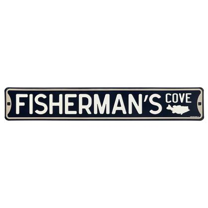 FISHERMANS WAY EMBOSSED TIN STREET SIGN 20x3.5