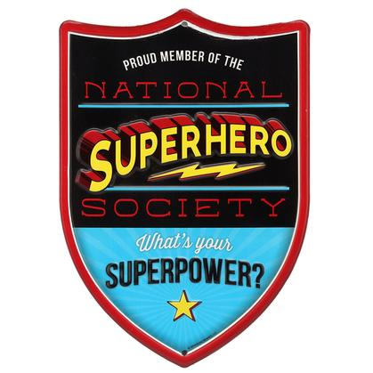 NATIONAL SUPERHERO SOCIETY EMBOSSED TIN SIGN