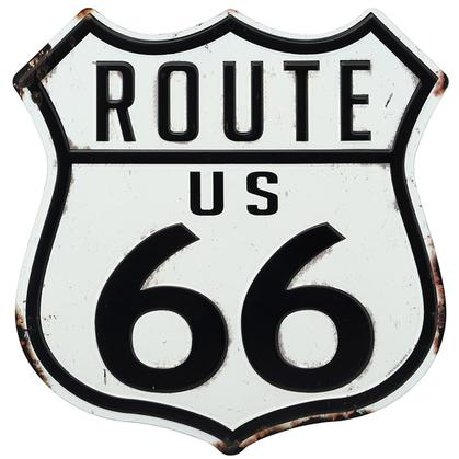 ROUTE 66 WHITE EMBOSSED TIN SIGN 12