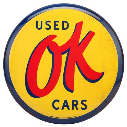 USED OK CARS HIGH-GLOSS TIN BUTTON SIGN 12