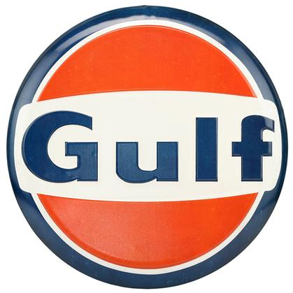 GULF EMBOSSED TIN BUTTON SIGN 14