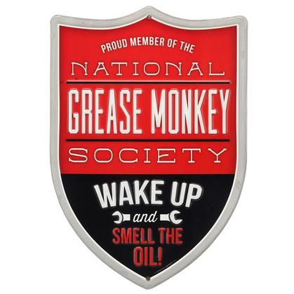 NATIONAL GREASE MONKEY SOCIETY EMBOSSED TIN SIGN