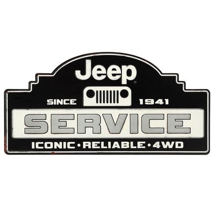 JEEP SERVICE EMBOSSED TIN SIGN 18x9