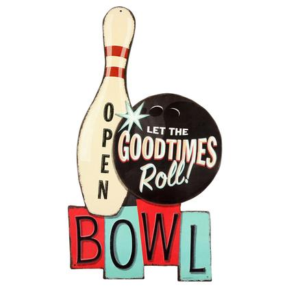 GOODTIMES ROLL BOWL EMBOSSED TIN SIGN 11x20
