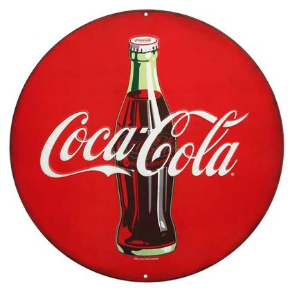 COCA-COLA ROUND EMBOSSED TIN SIGN 12