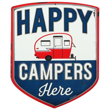 HAPPY CAMPERS RUSTIC EMBOSSED TIN SIGN 11x13