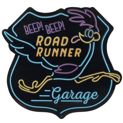 ROAD RUNNER GARAGE EMBOSSED TIN SIGN 12x11