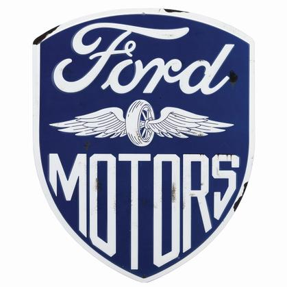 FORD MOTORS SHIELD EMBOSSED TIN SIGN 10x12.5