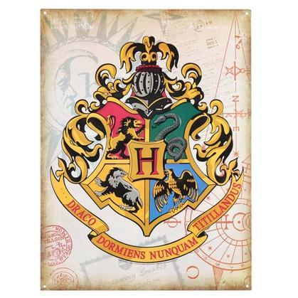 HARRY POTTER HOGWARTS CREST METAL WALL ART 13.5x18
