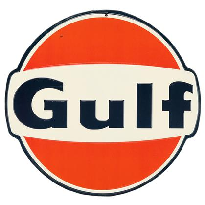 GULF OIL EMBOSSED TIN SIGN 12