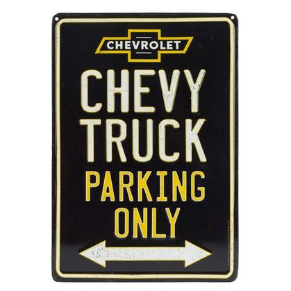 CHEVY TRUCK PARKING ONLY EMBOSSED TIN SIGN 9x13
