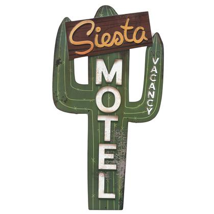 SIESTA MOTEL RUSTIC EMBOSSED TIN SIGN 16x30