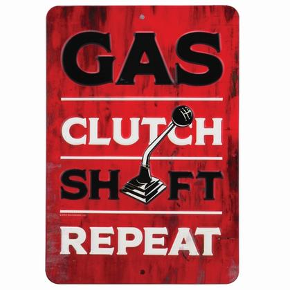 GAS CLUTCH SHIFT EMBOSSED TIN SIGN 6x9