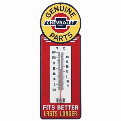 CHEVROLET WEATHER RESISTANT EMBOSSED TIN THERMOMETER 5.5x15.5