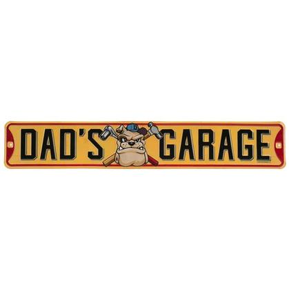 DAD'S GARAGE EMBOSSED TIN STREET SIGN 20x3.5