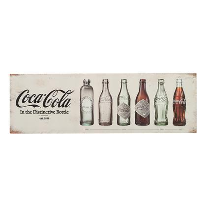 COCA-COLA EVOLUTION EMBOSSED TIN SIGN 30x9.5