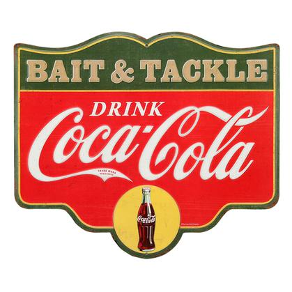 COCA-COLA BAIT AND TACKLE EMBOSSED TIN SIGN 14x12