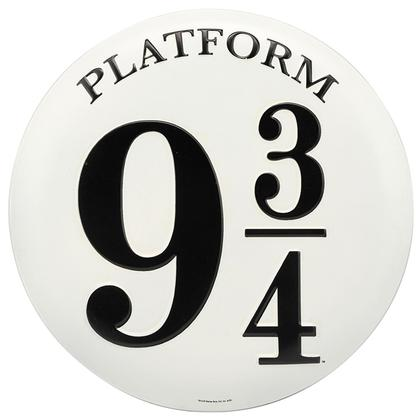 PLATFORM 9 3/4 EMBOSSED TIN BUTTON SIGN Harry Potter 14